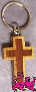 Intarsia Solid Wood Key Ring Religious Christian Cross NEW