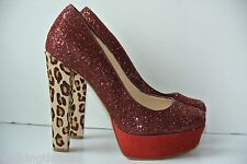 Guess Ureeka Womens Sz 7 M Red Sparkle Cheetah Platform Heels Pumps NICE!!