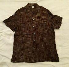 Dosa Brown Khadi Cotton Short Sleeve Button Up Shirt, Size 5 or XL, New