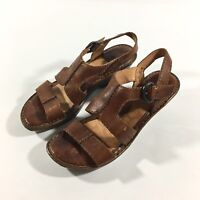 Born Clog Sandal Leather Open Toe Ankle Strap Buckle Womens Size 10 Brown