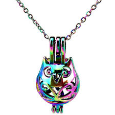 C809 Rainbow Color Cat Locket Necklace Pearl Beads Cage Pendant Charms