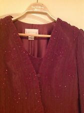 Ladies COTERIE Formal Aubergine Long Beaded Evening Dress and Jacket FREE BAG