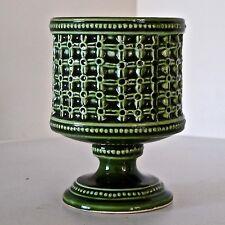 E.O.Brody Sorrento Green Glaze Basketweave Ceramic Posy Vase N-318, USA c.1950s