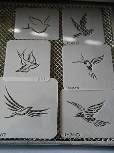 Airbrush Temporary Tattoo Stencil Set 257 Doves New by Island Tribal!