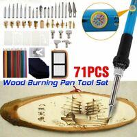 71pcs 60W Wood Burning Tool Electric Soldering Iron Pen Pyrography Craft Set