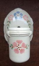 Vintage 1930s Porcelain CERAMIC ELECTRIC WALL SCONCE Pink & Blue Floral