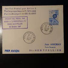 AVIACIÓN LETRA COVER PREMIER VUELO PARIS MONTPELLIER 1967