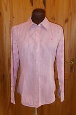 ESPRIT white hot pink black striped long sleeve blouse shirt top UK 10 38 US 6