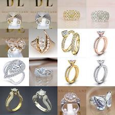 Women Jewelry 925 Silver 18k Gold White Diamond Birthstone Bride Engagement Ring