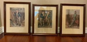 3 x Vintage Framed Pictures From Pickwick Dickens Colored Prints