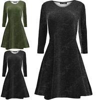 Womens Lurex Glitter Flare Long Sleeve Ladies Party Mini Swing Skater Dress 8-30