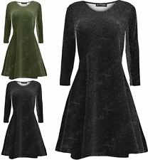 Womens Lurex Glitter Flare Long Sleeve Ladies Party Mini Swing Skater Dress 8-30