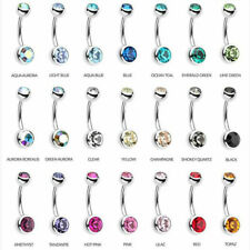 10-50PC LOT ASSORTED COLOR DOUBLE GEM STEEL BARBELL NAVEL BELLY BUTTON RINGS