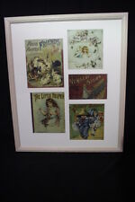 Group of Five Repro Victorian Children's Linen Book Covers; Matted & Framed (1)