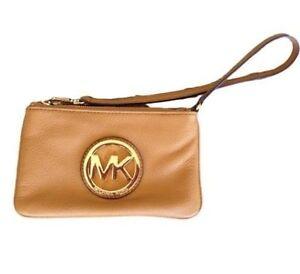 Michael Kors Fulton Wristlet Peanut Brown Leather Wallet NWT