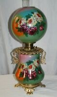 Victorian Hand Painted Gone with the Wind Oil Lamp W/ ROSES ( GWTW Banquet Lamp)