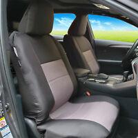 Canvas Seat Covers Black Grey Front For Mitsubishi Triton Dual Cab MQ ML MN