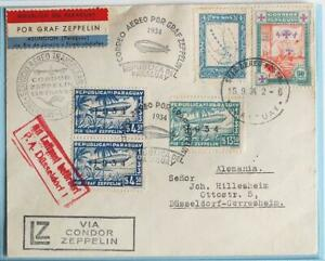 PARAGUAY to BRAZIL to GERMANY 1934 ZEPPELIN, 8th SAF Flight Reg Airmail Cover !!