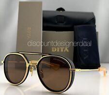 DITA SPACECRAFT Round Sunglasses Matte Black Yellow Gold Frame Brown Lens NEW 52