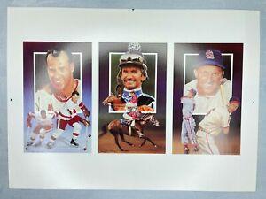 1991 Legends Sports Uncut 3 Card Sheet Gordie Howe Willie Shoemaker Stan Musial