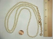 VINTAGE RETRO GIVENCHY GOLD ROUND PEARL BEADED 38 INCH ADJUSTABLE NECKLACE  L908