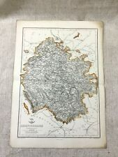 Antique Map Herefordshire County England 19th Century Old Hand Coloured