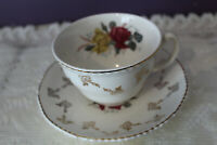 WOOD & SONS CHARMAINE TEA CUP AND SAUCER GOLD FLOWERS RED & YELLOW ROSES