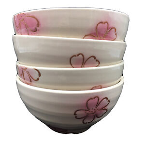 Pier 1 Imports Stoneware Soup/Cereal/Salad Bowls 4 Pink/Brown Flowers PER89