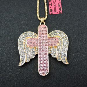 Pink Charm Rhinestone Wings Cross Crystal Betsey Johnson Pendant Necklace
