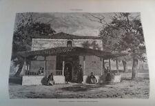 ANTIQUE ENGRAVED BULGARIA 1876 BULGARIAN MONASTERY 19th CENTURY PRINT  037CC