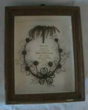 Antique Victorian Mourning Hair Wreath German Memento Mori 1855-1894 Shadow Box