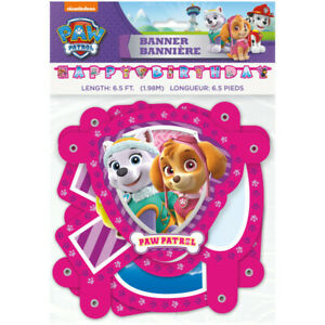 PAW PATROL Girl HAPPY BIRTHDAY JOINTED BANNER ~ Party Supplies Decorations Room