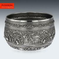 ANTIQUE 19thC EXCEPTIONAL BURMESE SOLID SILVER HAND CRAFTED BOWL c.1880