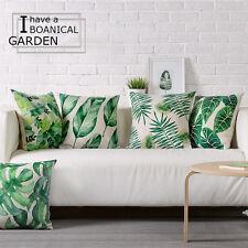 "Watercolor Green Leaves Plants Linen Pillow Case Decorative Cushion Cover 18"""