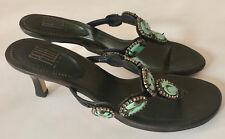 PELLE MODA Faux Turquoise Embellished Leather Sandals Size 7.5M EUC