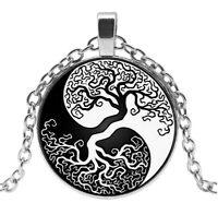 Collier pendentif arbre de vie,  yin & yang, force de la vie, chaine acier.