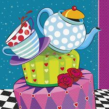 MAD HATTER TEA PARTY LUNCH NAPKINS (16) ~ Birthday Supplies Serviettes Dinner