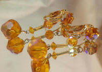 FAB Vintage 1960's Amber Crystal Glass Gold Tone Dangly Clip Earrings 115D8