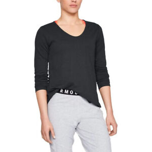 Under Armour UA Pindot Ladies Open Back Long Sleeved Black Crew Sports Top S