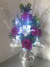 Artificial Silk Flower Arrangement Purple & White Flowers Mirror Vase Lights