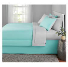8 Piece Mint King Size Comforter Set Reversible Bedspread Bed in a Bag Sheets