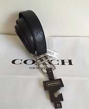 NWT Coach Men's Signature Embossed Reversible CUT TO SIZE Belt  F64827- Black