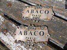2 plaques métal argenté ABACO Paris