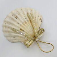 "Seashell Christmas Ornament Gold Glitter Scallop 3.5"" Hand Made"
