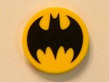 LEGO Batman - Tile, Round 2 x 2 w/ Black Bat Pattern - Yellow