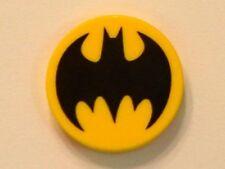 LEGO Batman - Tile, Round 2 x 2 w/ Black Bat Pattern - Yellow