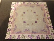Vintage Pink Purple White Leaf Hankie
