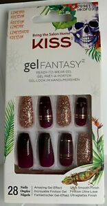 Kiss Nails Gel Fantasy Glue on Manicure Limited Edition red/purple fade gold glt