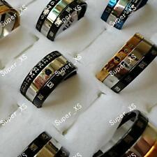 blue black gold sliver spin calendar men's women's Stainless steel Ring Jewelry