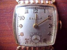 Vintage Bulova L1 Watch 1951 working  wristwatch gold plate leather band H660